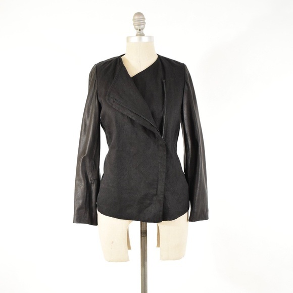 Vince Jackets & Blazers - VINCE Metallic Linen Leather Sleeve Jacket